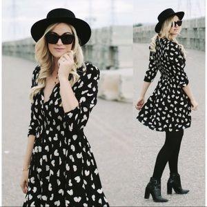 Anthropologie | Maeve black white heart dress